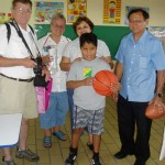 We gave a blind student (Santiago) a special basketball