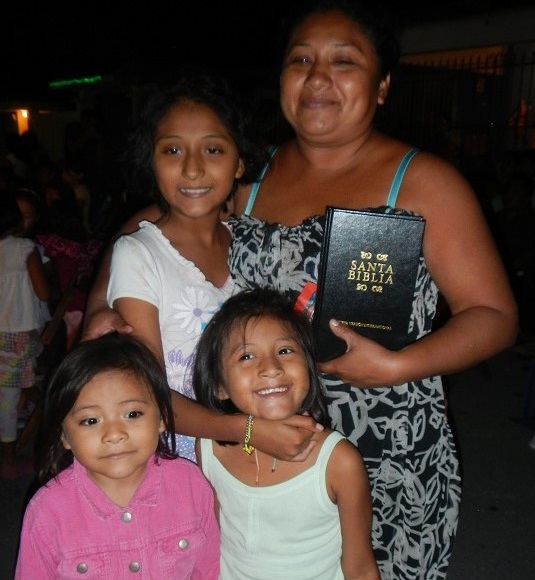 family with their new bible