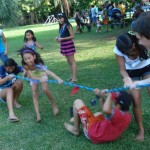 A game of jump rope turned into a fun tug of war.