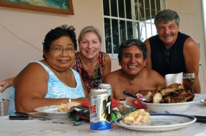 (Left to right) Chepita, Phyllis, Jose and Gary enjoy meal together.
