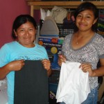 Rosalia and Perla made diapers they'll donate to a new mother.