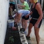 Phyllis and Kristin create a barrier against iguanas in the garden bed that was built with cement blocks.