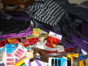 The George family turned bargain shopping into a mountain of school supplies for families in need in Cozumel.