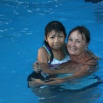 Karla (left) and Sandy (right) went swimming during the day camp outing.