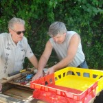 Ray and Gary create a protype shelf as an example for the recycling workshop.