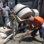 A mixer will greatly aid in preparing the cement