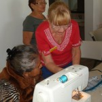 Marian (right) helped with the sewing workshop.