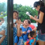 Families waited patiently to have their name checked by local volunteer Nuria.