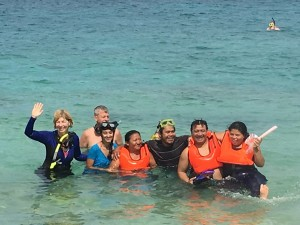 Apprehension turned to smiles after the snorkeling experience.