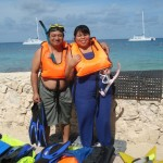 Salomon and Mariela learned to snorkel with FOC volunteers.