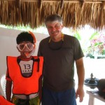 Armando (left) and Gary worked together to develop snorkeling skills.