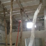 This is the inside of a future classroom before the cement roof was poured.